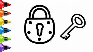 How to Draw a Lock and Key for kids - a Lock Coloring ...