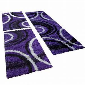 Teppich Läufer Lila : shaggy l ufer bettumrandung hochflor teppich vigo gemustert lila schwarz 3er set hochflor teppich ~ Markanthonyermac.com Haus und Dekorationen