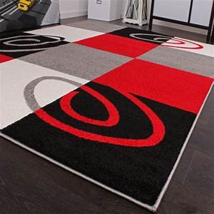 tapis de createur contemporain a carreaux en rouge noir With tapis contemporain rouge