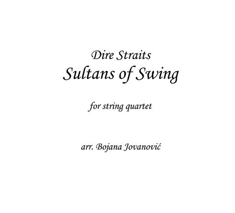 Dire Straits Sultans Of Swing Studio Version by Dire Straits Sultans Of Swing Sheet For String