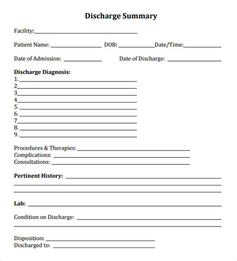 Discharge Summary Template Mental Health by 8 Sle Discharge Summary Templates To Sle