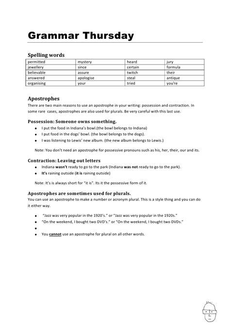 Apostrophes Worksheet
