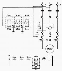 a three wire start stop circuit with multiple start stop With motor control wiring diagram besides start stop station wiring diagram
