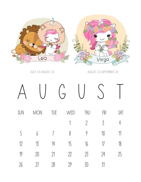 printable  zodiac sign kawaii unicorn calendar