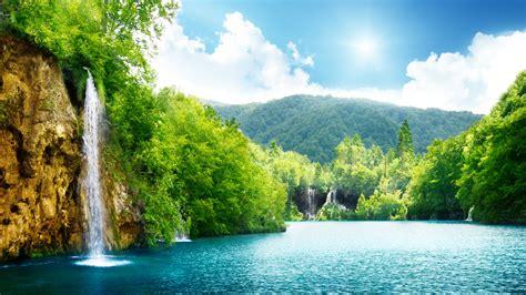 hd wallpaper waterfall lake forest