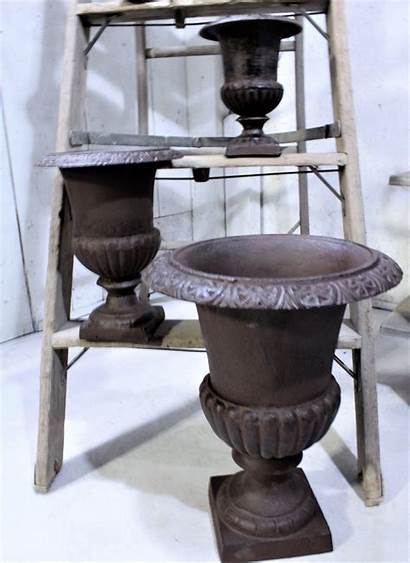 Iron Cast Planter Pot Heavy Urn Brown