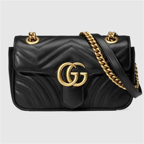 gg marmont mini bag matelasse black leather gucci