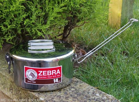 bushcraft billy cooking pot camping zebra steel stainless 14cm lunchbox