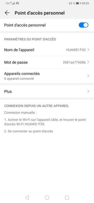 Utilisez votre téléphone comme modem - Huawei P30 Pro