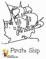 Pirate Coloring Ship Pages Boat Pirates Masted Yescoloring Boats Seas sketch template