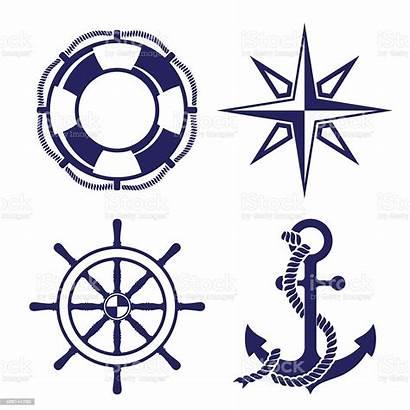 Marine Symbols Vector Illustration Wheel Ship Anchor