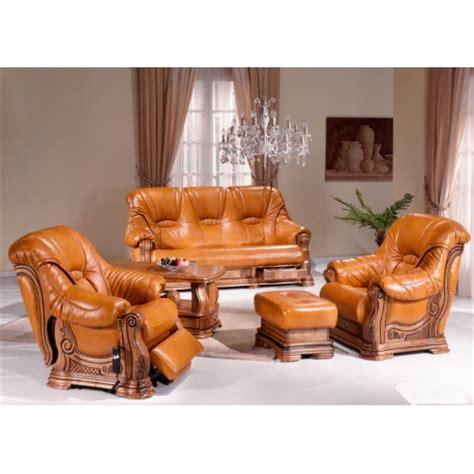 Salon rustique cuvette Darwin : canapé cuir chêne fauteuil relax