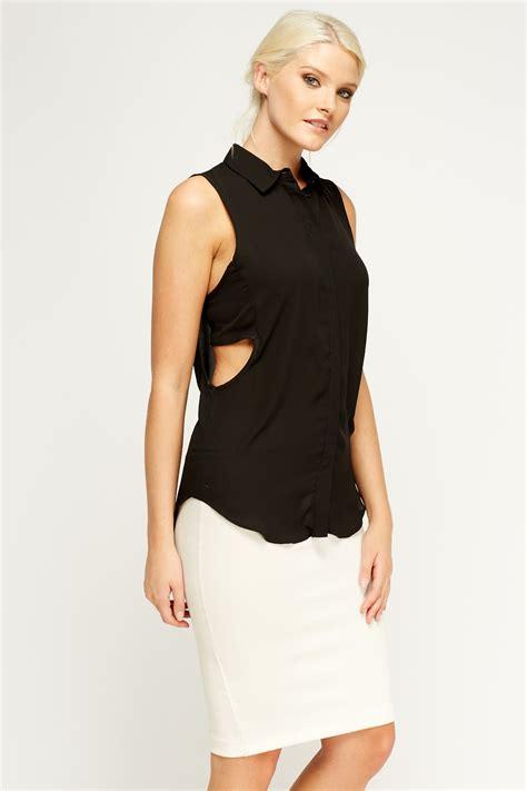 black sleeveless blouse cut out side black sleeveless blouse just 5