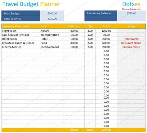 travel budget template travel budget template budget calculator dotxes