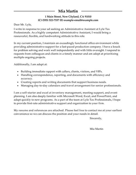 Exle Resume Letter by Professional Resume Cover Letter Sle Letters Free