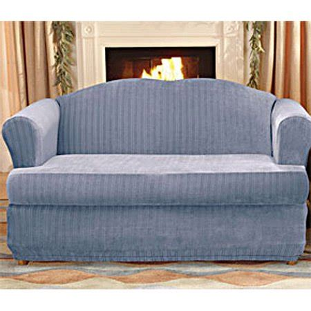 2 T Cushion Loveseat Slipcover by Sure Fit Stretch Pinstripe 2 T Cushion Sofa