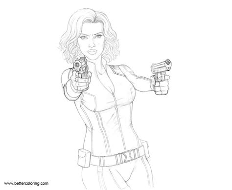 black widow superhero pages coloring pages