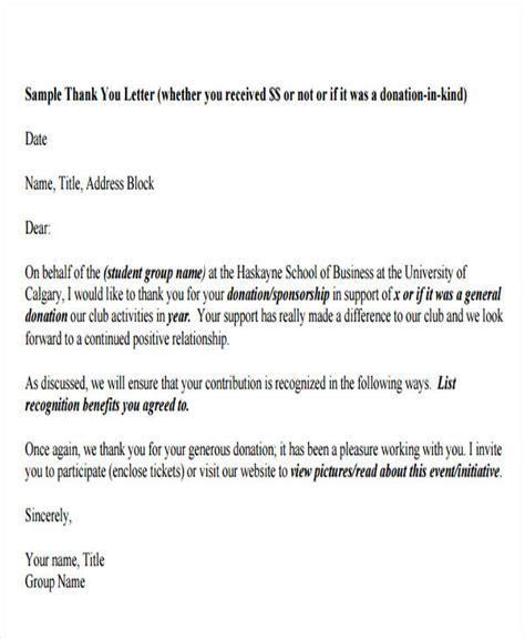 sponsorship thank you letter thank you letter format free amp premium templates 24946 | Sponsor Donation Thank You Letter