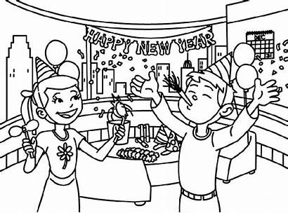 Coloring Celebration Drawing Pages Colouring January Party