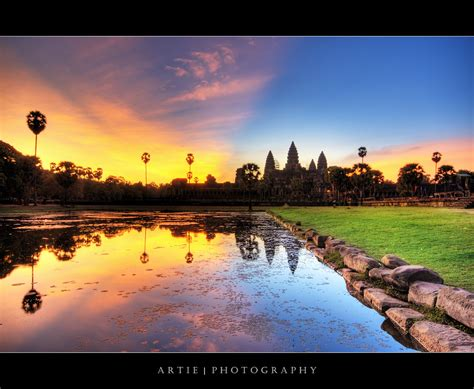 colourful cambodia sunrise angkor wat hdr