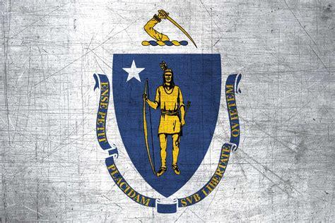 massachusite flag metal flag  massachusetts