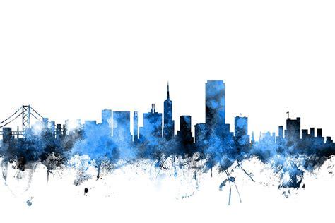 san francisco city skyline digital art  michael tompsett