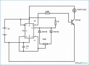 Here Is The Simple Circuit Diagram Of A 1w Led Dimmer