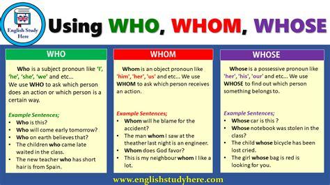 Using Who, Whom, Whose  English Study Here