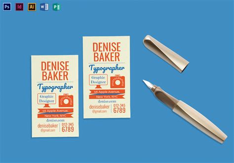 typography business card template  psd word publisher