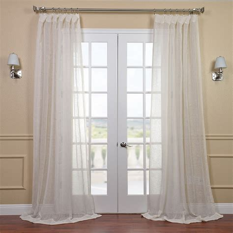 linen open weave sheer curtain panel contemporary