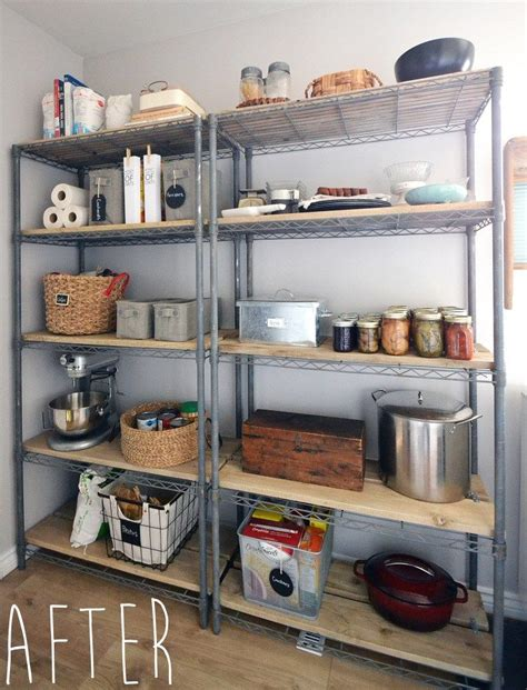 rustic farmhouse pantry shelving makeover  basic wire