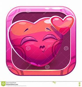 App Icon With Funny Cute Pink Character Stock Vector ...