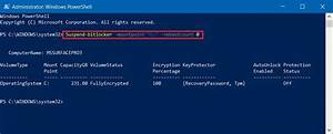 How To Suspend Bitlocker Encryption To Perform System