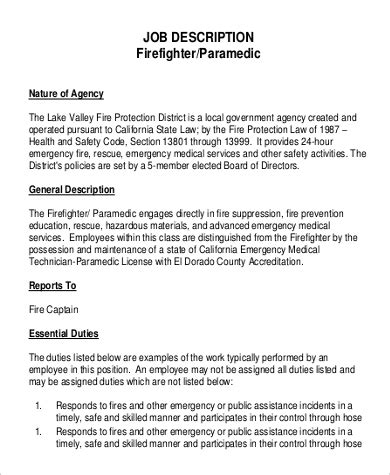 sle firefighter job description 9 exles in pdf