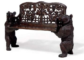 swiss black forest carved linden wood bench  ed