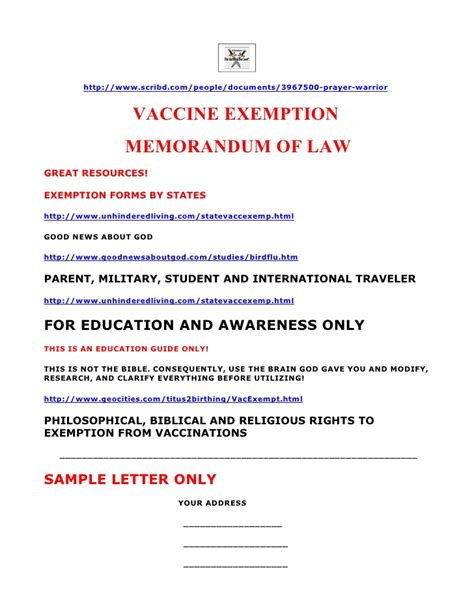 ohio vaccine exemption form vaccine exemption memorandum of law