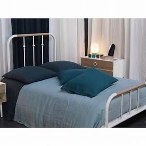 Lit Double Mtal Bois Mr Mrs Design 140cm AMOBOIS