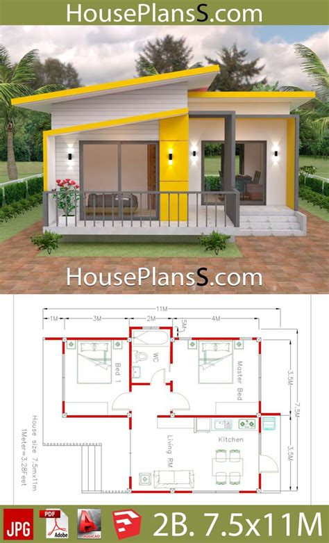 House Plans 7 5x11 with 2 Bedrooms Full plans Small