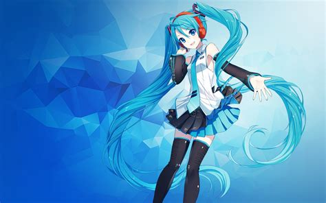 Anime Wallpaper Blue - wallpaper hatsune miku anime polygons blue 4k