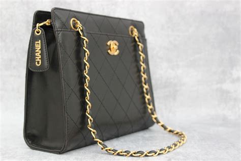 chanel vintage black lambskin chain strap shoulder bag  jills consignment