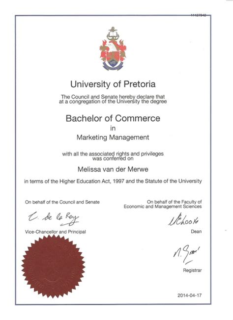 marketing certificate bachelor of commerce in marketing management certificate