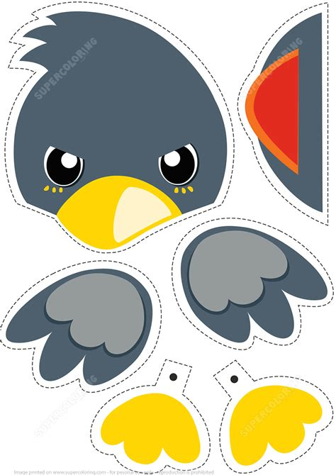 paper bird toy  cut   play  printable