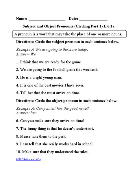 objective and subjective language worksheets subjective and objective pronouns 1 ela literacy l 6 1a