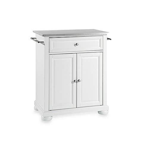 stainless steel portable kitchen island buy crosley alexandria stainless steel top portable kitchen island in white from bed bath beyond