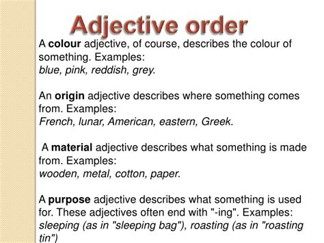 adjectives usages adjective examples colour something round shape describes