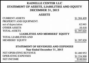 Rainelle center llc statement of assets liabilities and for Asset and liability statement template