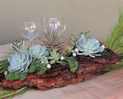 deco table bois flotte winter succulent centerpiece