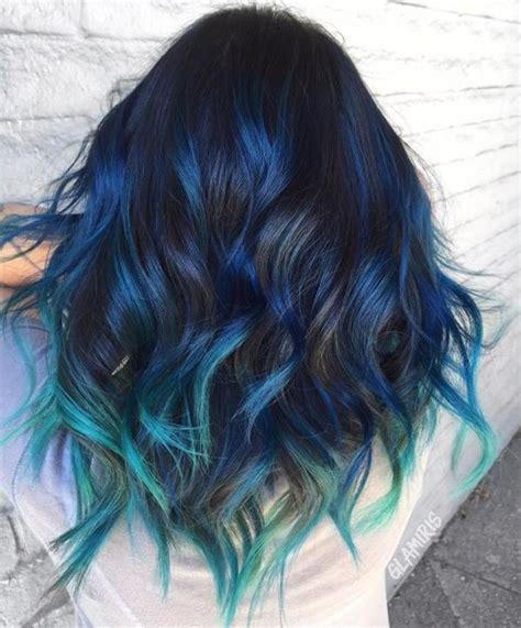Blue Black Hair Color Ideas Best Blue Highlights In Black