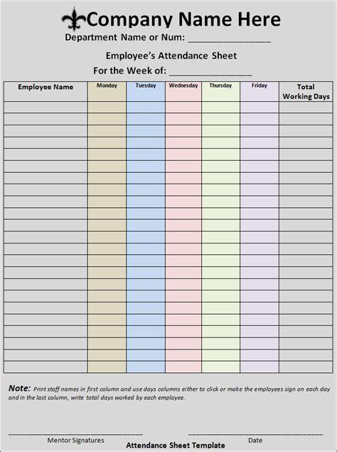 attendance sheet format  word templates