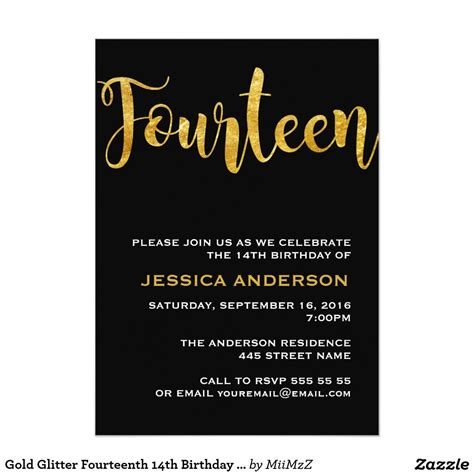 Gold Glitter Fourteenth 14th Birthday Invitation